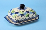 "295 ~ Butter Dish	~  1417a ~ Blue Phlox   <BR> 	<small> 5' x 6 3/4"""" x 3 1/2""""high </small>"