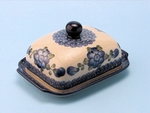 "295 ~ Butter Dish	  <br>163a ~ Blue Poppy<br>	<small> 5' x 6 3/4"""" x 3 1/2""""high </small>"
