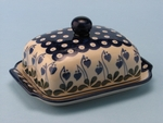 "295 ~ Butter Dish   <br>~ 377o  Bleeding Heart  	<small> 5' x 6 3/4"""" x 3 1/2""""high </small>"