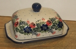 "295 ~ Butter Dish <BR> Euro<BR>	1535a ~ Garden Party<br>	<small> 5' x 6 3/4"""" x 3 1/2""""high </small>"