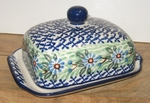"""295 ~ Butter Dish <BR> Euro <small> 5' x 6 3/4"""" x 3 1/2""""high </small> 1199 Daisy Mist"