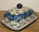 """295 ~ Butter Dish <BR> Euro <small> 5' x 6 3/4"""" x 3 1/2""""high </small> <BR> 1394 Periwinkle"