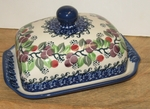 """295 ~ Butter Dish <BR> Euro <small> 5' x 6 3/4"""" x 3 1/2""""high </small> 1418 Burgundy Berry"