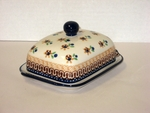 """295 ~ Butter Dish <BR> Euro <small> 5' x 6 3/4"""" x 3 1/2""""high </small> <BR> Country Gold"