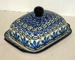 """295 ~ Butter Dish <BR> Euro <small> 5' x 6 3/4"""" x 3 1/2""""high </small> <BR> Ocean Blue"