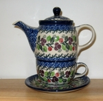 423 ~ Tea Time for One	<br>	1418 BURGUNDY BERREIS<br>	7.25H X 3.25W