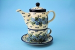 423 ~ Tea Time for One <br>	7.25H X 3.25W   <BR>   Periwinkle