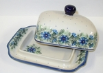 "BUTTER DISH	  <br>~ Cornflower<small> 5' x 6 3/4"""" x 3 1/2""""high </small>"
