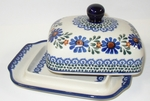 "BUTTER DISH	  <br>~ Indigo  <BR> 5' x 6 3/4"""" x 3 1/2""""high </small>"