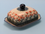 "BUTTER DISH	  <br>~ Peach Spring Daisy <br>	<small> 5' x 6 3/4"""" x 3 1/2""""high </small>"