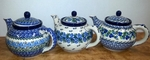 Group of 3 Large Teapots <BR>5 cups<BR> Save 10%<BR>Blues, as shown