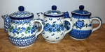 Group of 3 Teapots (2.5cup)<BR> SAVE 10%<BR> Blues, as shown