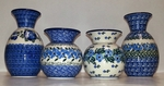"Group of 4 Vases <BR> 4.5"" & 6.6"" <BR> Blues"