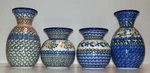 "Group of 4 Vases <BR> 4.5"" & 6.6"" <BR> Golds"