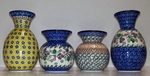 "Group of 4 Vases <BR> 4.5"" & 6.6"" <BR> Mix Patterns"