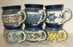 "GROUP OF 6 (16 OZ) MUGS (4"" tall) <br>(SAVE 6%) <SMALL>Patterns will vary </small>"