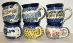 "GROUP OF 6 MUGS (12 OZ-3.5"")  <br> (SAVE 10%) <br><small> Patterns will vary </small>"