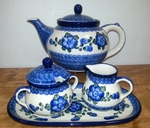 Large Teapot (5c) / Sugar / Creamer / Tray <BR> Save 10% <BR> Blue Poppy