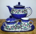 Large Teapot (5c) / Sugar / Creamer / Tray <BR> Save 10% <BR> Burgundy Berries