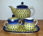 Large Teapot (5c) / Sugar / Creamer / Tray <BR> Save 10% <BR> Sunburst