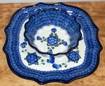 "Serpentine Tray & Fluted Bowl <BR>10""<BR> SAVE 15%<BR>Blue Poppy"