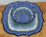"Serpentine Tray & Fluted Bowl <BR>10""<BR> SAVE 15%<BR>Water Lilly"