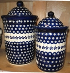 Set of 2 Canisters <BR>5.5 & 8 cups<BR> Floral Peacock
