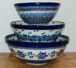 Set of 3 Nesting Bowls <BR>SAVE 20%<BR> Blue Mix
