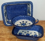Set of 3 Smaller Bakers <br> Blue Poppy <br> SAVE 10%