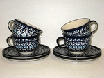 Set of 4 Cup & Saucer<BR> India<BR>  BUY 3 / GET ONE FREE
