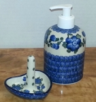 Soap/Lotion Dispenser & Ring Holder <BR> SAVE $9 <bR>  Blue Poppy