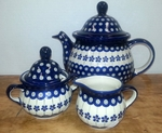 **OUT OF STOCK** Order now for delivery mid-January <BR>  Teapot (7 c) w/Sugar & Creamer <BR> SAVE 15% <BR>Floral Peacock