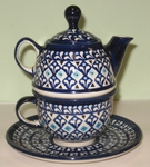 TEA FOR ONE <br>Teapot with Cup & Saucer   (Z)
