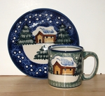 WINTER CABIN PATTERN <BR> Blue or Green  <BR> Save 20%