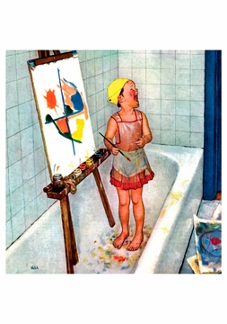 Artist in the Bathtub Birthday Card