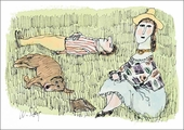 Couple and Dog Relaxing on Grass Notecard