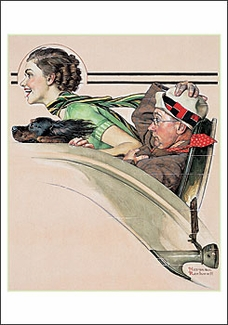 Couple in Rumble Seat Small Boxed Cards