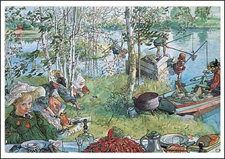 Crayfishing Postcard