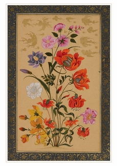 Exotic Flowers Growing Beneath Gold Clouds Birthday Card