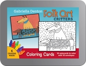 Folk Art Critters: Gabriella Denton Coloring Cards