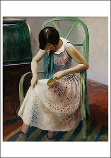 Girl Reading a Book Notecard