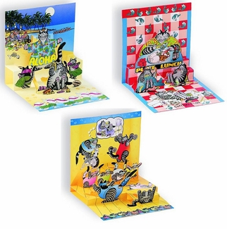 Kliban Cat Pop Up Card Set of Three