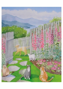 The Cats in the Garden Birthday Card