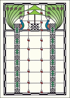 Viennese Double Peacock Window Postcard