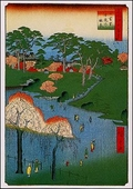 Views of Edo: Temple Gardens Postcard