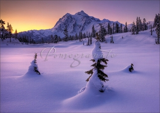 Winter Sunrise from Picture Lake, Washington Christmas Cards