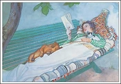 Woman Reclining on a Bench Notecard