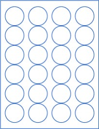 "1.625"" Circle  Laser/Inkjet Labels; 24 up; (250 sheets/box) - Standard White Matte"
