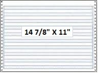 "14 7/8"" x 11"" - 18# 1-Ply Continuous Computer Paper (3,000 sheets/carton) - 1/2"" Blue Bar"