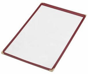 "14"" x 8 1/2"" - Clear Stitched Caf� Menu Covers (25 covers/pack) - 1 Panel / 2 View"